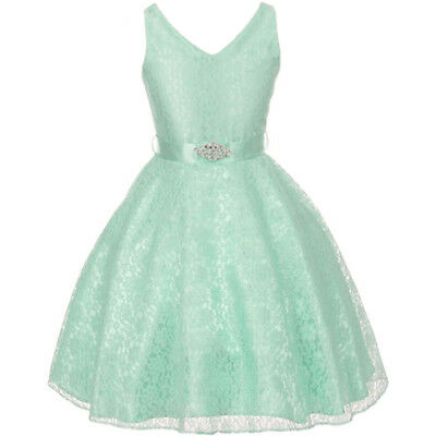 MINT Lace Flower Girl Dress Bridesmaid Wedding Birthday Party Pageant Graduation