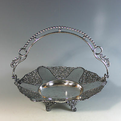Antique Aesthetic Movement Silverplate Brides Basket with Handle