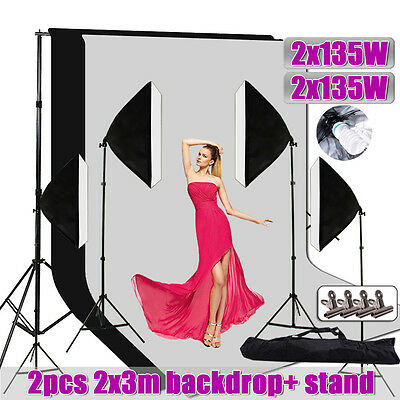 2700W Photography Continuous Lighting 4 Large Softbox Soft Box Light Stand Kit