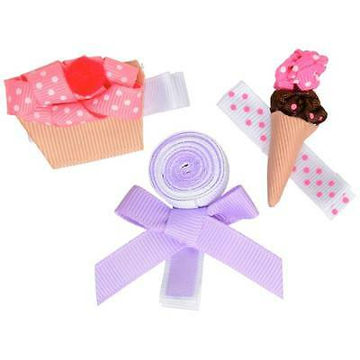 Set of 3 Sweet Hair Clips  Cupcake, Ice Cream Cone, Lollipop