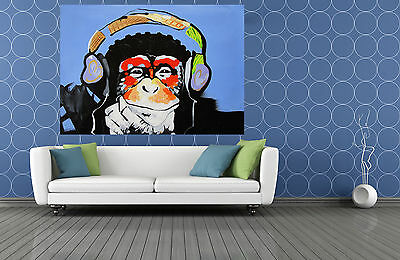"MASSIVE CANVAS Banksy Street Art Print DJ MONKEY chimp PAINTING 47"" x 32"""