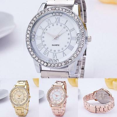 Bracelet Wrist Watchs Stainless Steel Women Crystal Rhinestone Analog Quartz