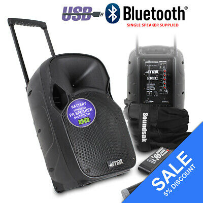 """MAX Active Powered Portable PA Sound System 12"""" Bluetooth Speaker Carry Bag 350W"""