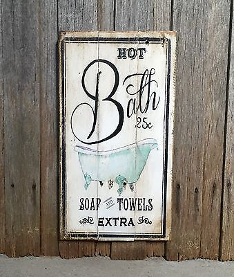 HOT BATH, Rustic Vintage Style Timber Wall Sign Hanging Art French Provincial