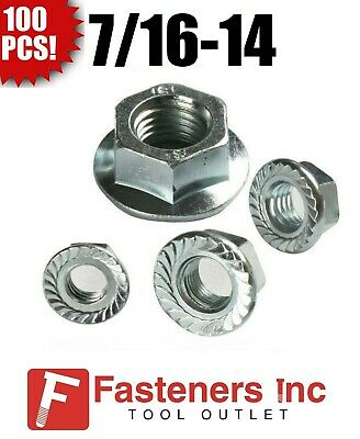 """(Qty 100) 7/16-14 Hex Flange Nuts Serrated Zinc Plated """"Whiz Nuts"""""""