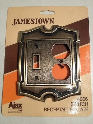 Vintage Jamestown Ajax Hardware Receptacle Brass Plate Light Switch Cover Combo