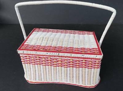 Vintage Sewing Basket  + Contents Vintage Sewing Items inc Buttons Wooden reels