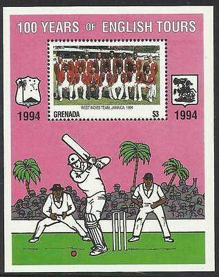 GRENADA 1995 CENTENARY ENGLISH CRICKET TOURS Souvenir Sheet MNH