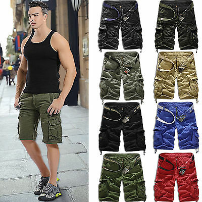 Mens Army Military Camo Combat Work Trousers Cargo Pants Casual Shorts Overalls