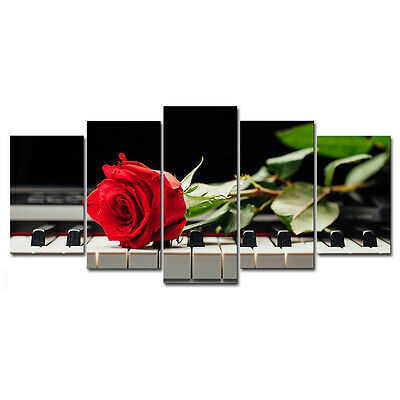 Painting Picture Canvas Print Home Decor Wall Art Landscape Rose Piano Framed