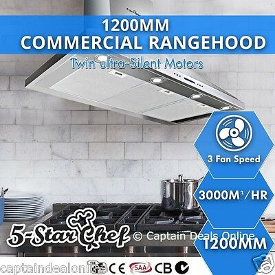 Commercial Rangehood Stainless Steel Wall Mount Range Hood Kitchen Canopy 1200MM