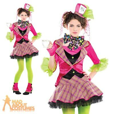 Teen Mad Hatter Costume Girls Alice Tea Party Halloween Kids Fancy Dress Outfit