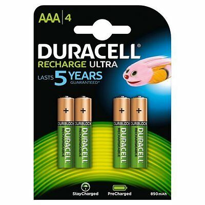 4x Duracell AAA 850mAh Recharge Ultra Rechargeable Batteries