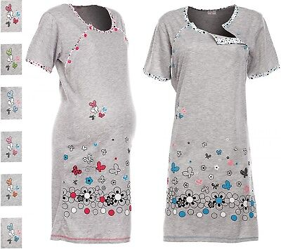 Happy Mama. Women's Maternity Nursing Breastfeeding Nightdress Shirt Gown. 140p