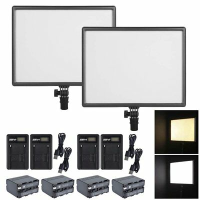 2X CN-Luxpad43 SLIM 3200K-5600K LED Video Light Panel + 4X Battery + 4X Charger