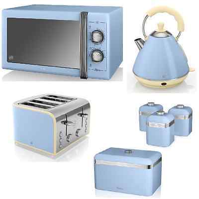 Swan Blue 25L Microwave 2L Kettle 4 Sl Toaster Breadbin and 3 Canisters Retro