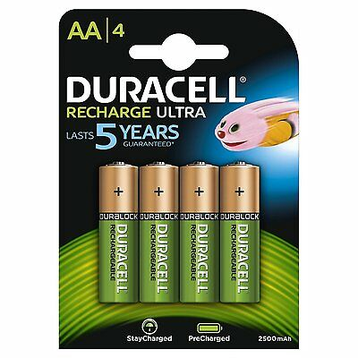 4 Pack Duracell AA NiMH Rechargeable Batteries Duralock Pre-charged 2500mAh