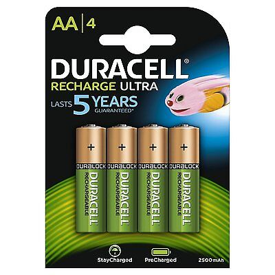 4x Duracell AA 2500mAh Rechargeable Ultra Batteries (Replaces 2400), HR6 MN1500
