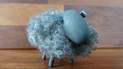 Grey wooden sheep with real sheep wool covering from Sweden