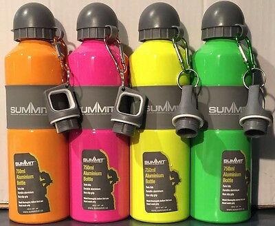 Fluorescent 750ml Aluminium  Bottle with Grip Carabiner Sports Water Bottle