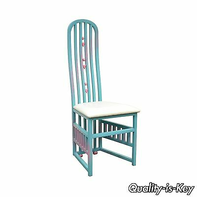 Vintage Memphis Rennie Mackintosh Style Blue Pink Tall Dining Desk Side Chair