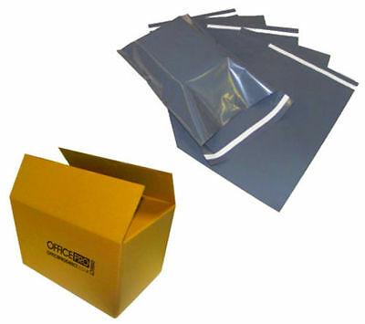 "100 BAGS - 14"" x 20"" STRONG POLY MAILING POSTAGE POSTAL QUALITY SELF SEAL GREY"