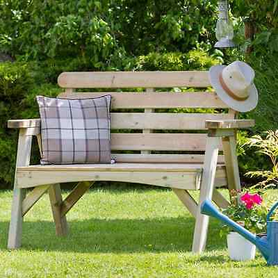 Wooden Garden Bench 2 Seater Timber  Patio Outdoor Furniture Natural Park Lawn