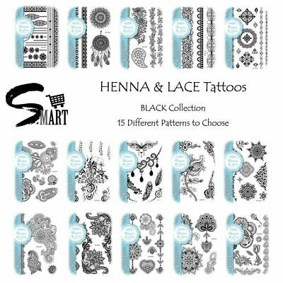 ULTIMATE TATTOO SHOP Women Style Henna Lace Temporary Stickers Waterproof BLACK