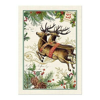 """Christmas Joy Kitchen Cotton Towel 20""""x28"""" with Reindeer by Michel Design Works"""