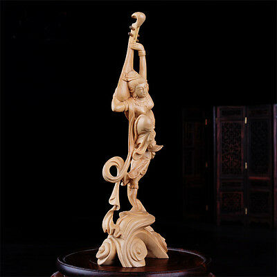 S010 --- 21*7*4 CM High Carved Boxwood Carving Figurine - Fairy Elegant