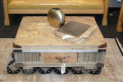 Custom Antique Apple Cratre Coffee Table Reclaimed Architectural Salvage