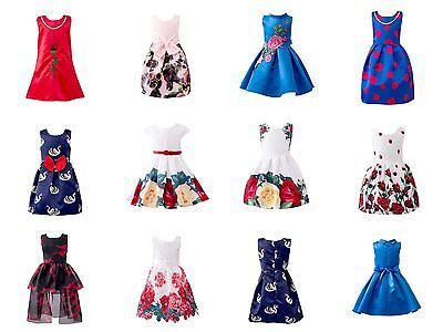 Girls Summer Dresses Floral Print Sleeveless Midi Dress Princess Bridesmaid Kids