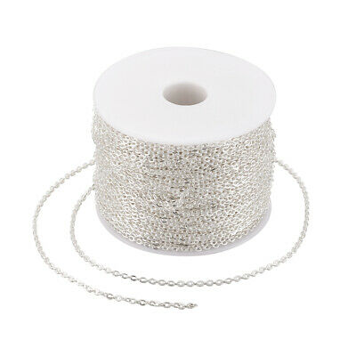 109yds//Roll Platinum Iron Cross Chains Oval Link Unsoldered String 4x2.7x0.7mm