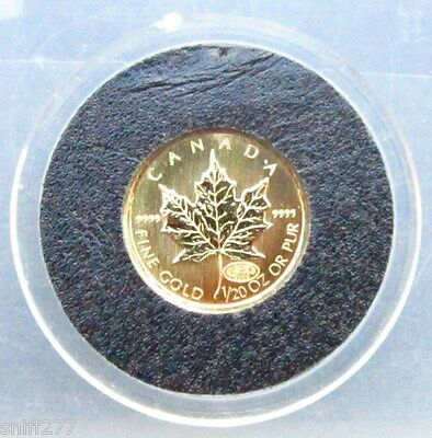 2000 CAPSULED CANADA 1/20oz GOLD MAPLE LEAF  $1 COIN  .9999 GOLD C.O.A