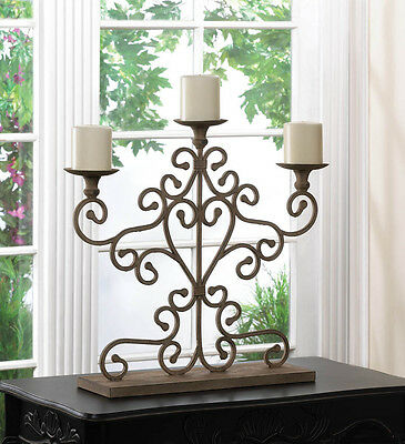 Cast Iron Antiqued Scrolled Three-Candle Candelabra