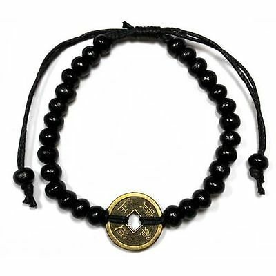 Feng Shui Bracelet - Wood Beads with Chinese Coin - Black