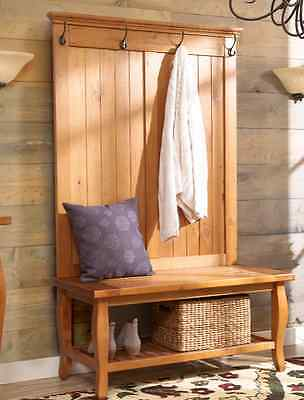 Hall Tree Entryway Coat Rack Stand Furniture Storage Bench Seat Country Wood New