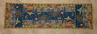"""AUTUMN FALL Tapestry Table Runner 38"""" x 11"""" Scarecrows, Cats, Pumpkins"""