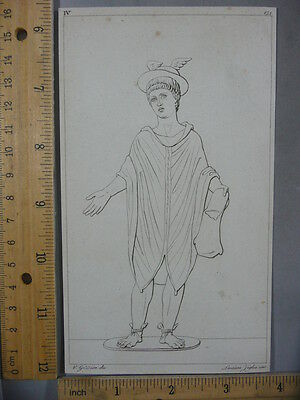 Rare Antique Original VTG Hermes Greek God Of Travelers Illustration Art Print