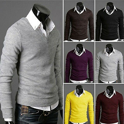 Men's Knitted Sweater V-neck Top Pullover Knitwear Sweatshirt Eager
