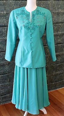Glamorous Vintage Anthea Crawford Skirt Suit - Green 1980s/90s - Size 10 - GVC