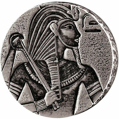 2016 Republic Of Chad Egyptian Relic Series King Tut 5 oz Silver Antiqued Coin