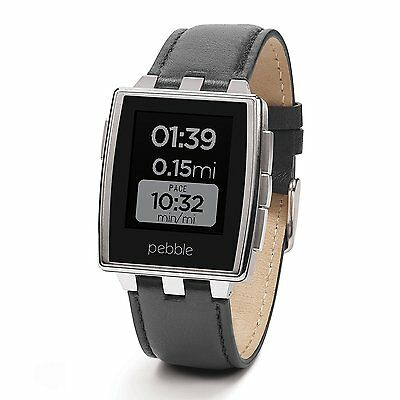Pebble Steel Smartwatch Stainless Leather Band Smart Watch Apple Android Time