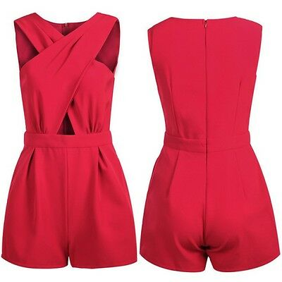 Women V Neck Clubwear Playsuit Sleeveless Bodycon Party Jumpsuit&Romper Trousers