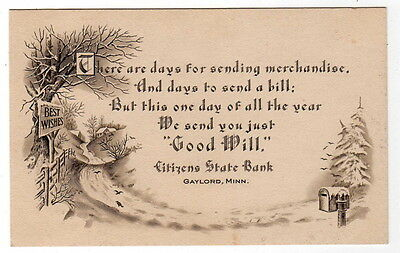 Citizens State Bank Gaylord Minnesota Mn Advertising Card