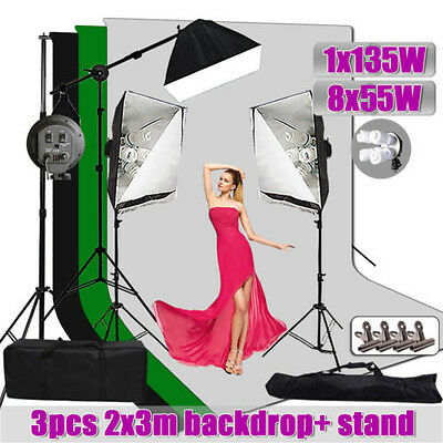 Photography Studio Video Soft box Lighting Light Green Screen Backdrop Stand Kit