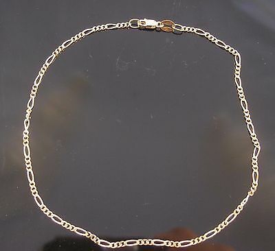 Brand New Solid 9ct Yellow Gold Figaro Anklet