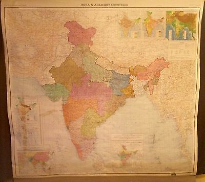 Large Vintage 1962 Denoyer Geppert Asia & Adjacent Countries Pull Down Map