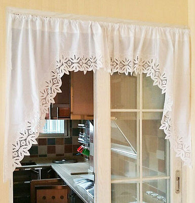 Elegant Pair of Leave Embroidery Cutwork White Curtain Swags