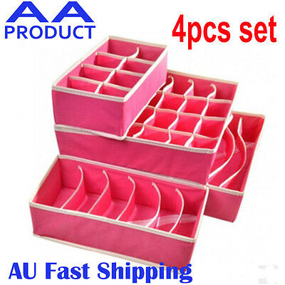 4pc Drawer Closet Organizer Storage Box Container for Underwear Bra Socks Pink